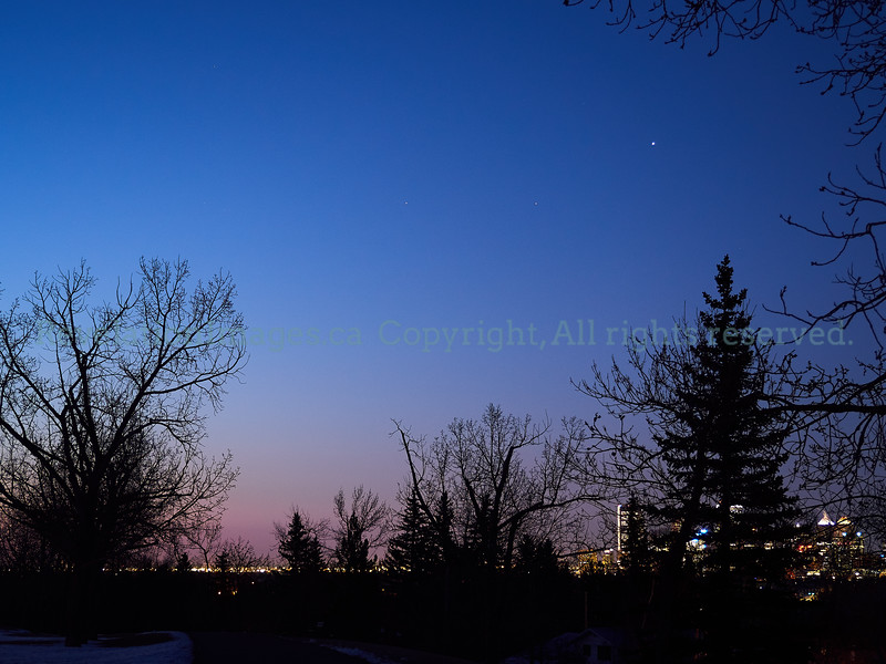Saturn, Mars, Jupiter over Calgary Sunrise