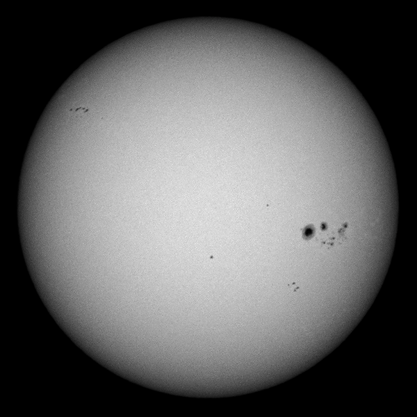 The Sun as seen from Sydney on 2014-01-05.  The large sunspot group to the right is Active Region 11944.<br /> <br /> Sony A100 DSLR with Sony 500/8 AF Reflex, 1/1000 s, f/8, ISO 100.