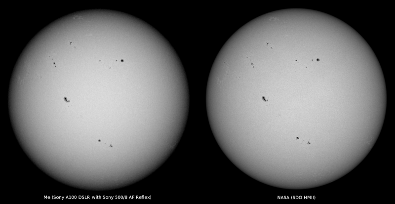 Side by side comparison of my white light photograph of the Sun as seen from Sydney on 2013-05-18 with an intensitygram from the HMI instrument of the NASA SDO satellite.<br /> <br /> Sony A100 DSLR with Sony 500/8 AF Reflex, 1/1000 s, f/8, ISO 100.  The 11 sharpest photos were chosen from a total of 40, then aligned and stacked using custom Python software.