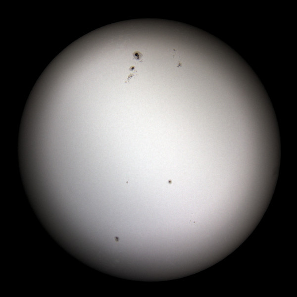 The Sun as seen from Sydney on 2014-01-11.  The large sunspot group near the top is Active Region 11944.<br /> <br /> Celestron Nexstar 127 SLT telescope with Sony RX100 camera.