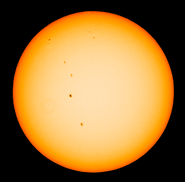 False colour image of the Sun as seen from Sydney at 10:55 AEST on 2013-03-16<br /> <br /> Sony A100 DSLR with Sony 500/8 AF Reflex, 1/500 s, f/8, ISO 100.