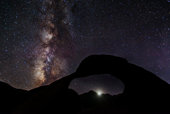 Moonset over the Sierra Nevada with the Milky Way rising in the West