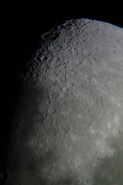 Moon from Sydney, 2014-01-10.<br /> <br /> Celestron Nexstar 127 SLT telescope with Sony RX100 camera.