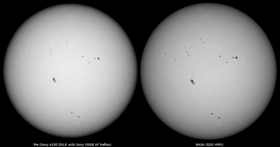 Side by side comparison of my white light photograph of the Sun as seen from Sydney on 2013-05-17 with an intensitygram from the HMI instrument of the NASA SDO satellite.  Sony A100 DSLR with Sony 500/8 AF Reflex, 1/500 s, f/8, ISO 200.