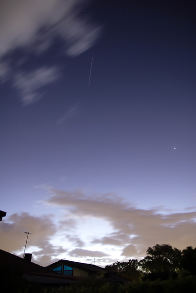 The International Space Station passing over Sydney at dusk on 2013-11-25.  Venus is visible on the right.<br /> <br /> Sony A100 DSLR with Tamron 17-50/2.8, 10 s, f/2.8, 17 mm, ISO 100.