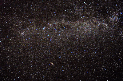 milky way in cassiopea with double cluster and andromeda galaxy