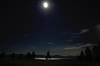 moon, pleiades, taurus at yellowstone lake