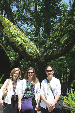 Mary Anne, Lauren, Anne at the Atlanta Botanical Gardens 5/13 - butterfly in the background