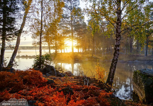 Misty lake Grycken, Sweden