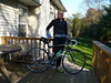 Brad felt the bike would photograph better on the deck. I'm still smiling inside.