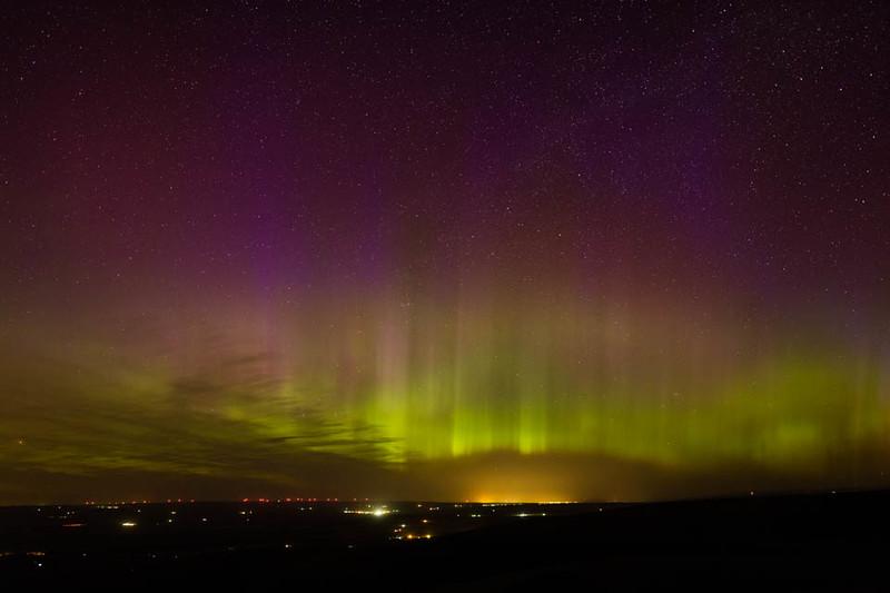 Northern lights over Walla Walla, Washington from Emigrant Hill, Oregon