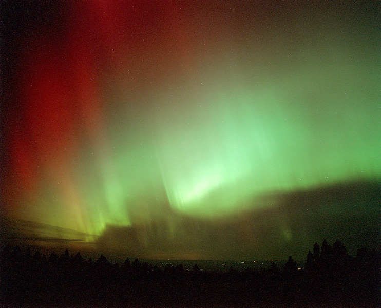 Northern lights near Mission, Oregon
