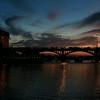 Sunset at congress avenue bridge with a sight of bats at flight