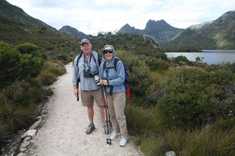 Mike and Sharyn on Dove Lake trail - Cradle Mountain National Park, Tasmania