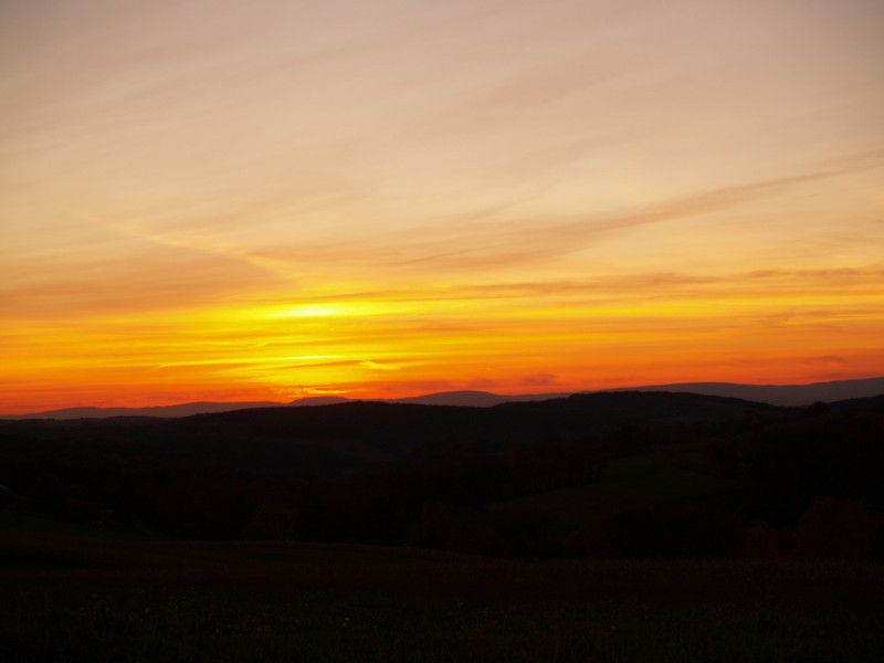 Sunset on the way home, after our DayBreak concert at Montour