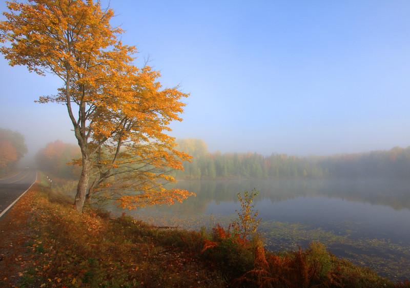 Sunrise at the Lake on a Foggy Autumn Morning