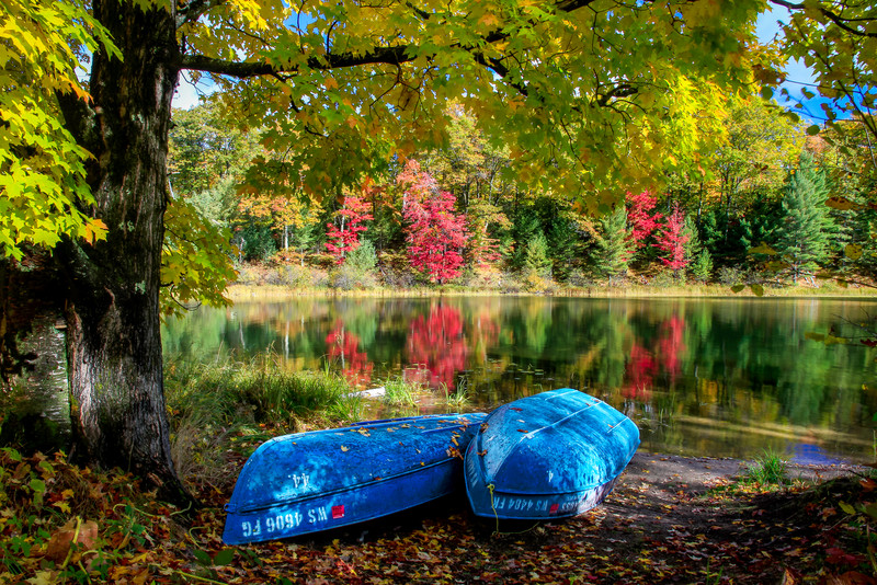 "Autumn Morning at the Lake.   ""Blue Boats"""