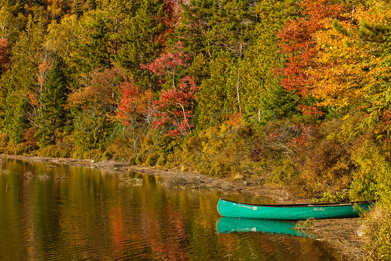 A canoe at the Adirondack Loj in Keene, NY awaits its next adventure on Heart Lake.