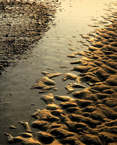 """Emerald Isle Abstract""  Late evening light glows on the sand formations at Emerald Isle, North Carolina coast.  Artistic filters added in Photoshop."