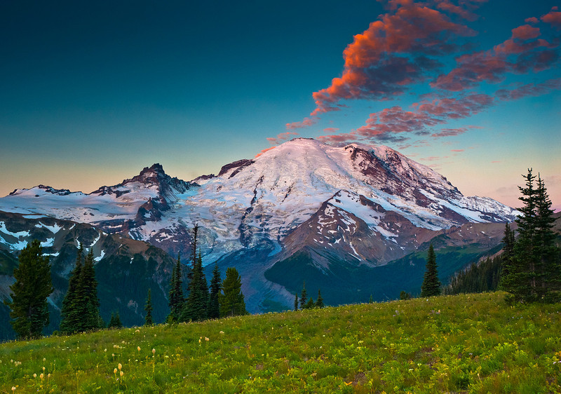 Mount Rainier, Tahoma Peak (left)  and Emmons Glacier at dawn, from the Sunrise area.