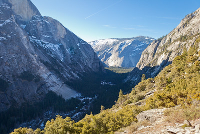 Looking over Yosemite Valley at Glacier Point, with Half Dome on the left and just out of view on the right is Basket Dome.