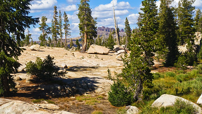 Granite slabs and volcanic peaks comprise the Sierra landscape.