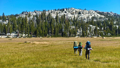 On Monday morning we pack up camp, and head across the meadow to catch the trail back to the parking lot, 9.3 miles distant.