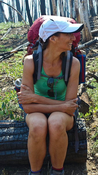 Karen looks excited about being on her first backpacking trip in many years.