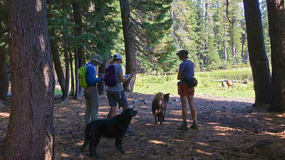 The group planning their day hike to Barrett and Durbin Lakes.