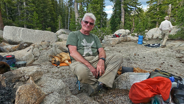 Relaxing in my ultralight titanium backpacking camp chair.