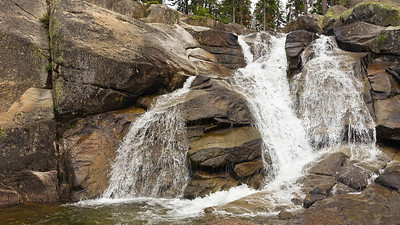 We encountered this beautiful waterfall as we hiked cross-country from Silver Lake to the Granite Lake Trail.