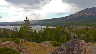 As we descend the trail back to the parking lot, we get a grand view of Silver Lake below.