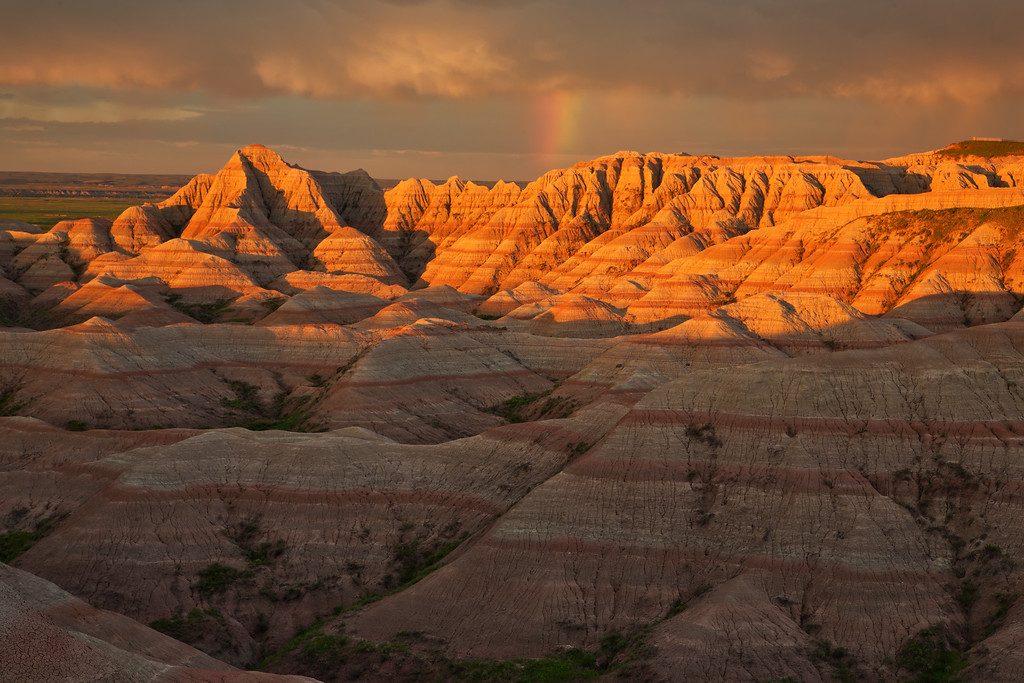 Rainbow at Sunrise 2, Badlands National Park, SD, White River Valley Overlook