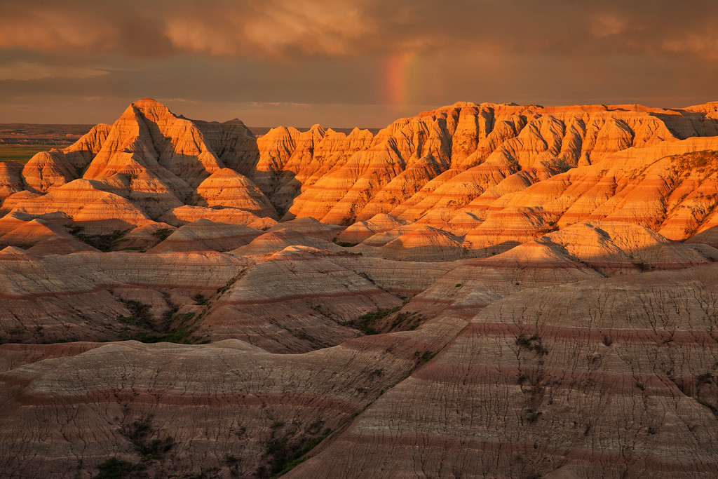 Rainbow at Sunrise, Badlands National Park, SD, White River Valley Overlook