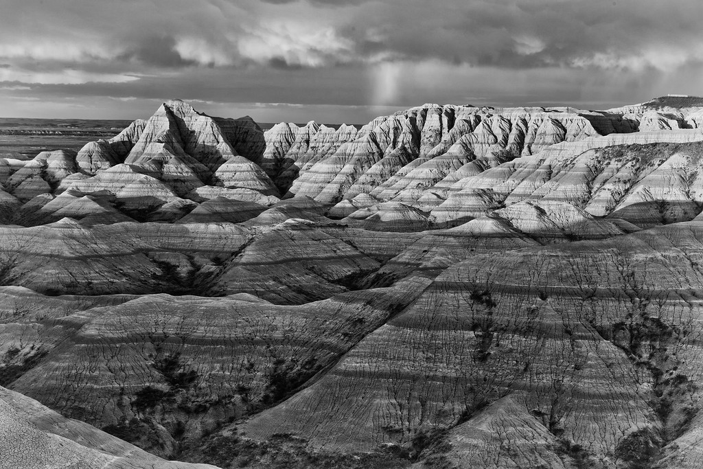 Rainbow at Sunrise 2 (BW), Badlands National Park, SD, White River Valley Overlook