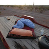 when the trailer is empty I sleep on the platform - I use an old sleeping bag as pad and carry a pillow with down comforter from home - life could not be better!