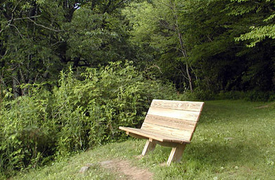 Bench for relaxing and enjoying the view at Heintooga Overlook Balsam Mtn Road  GSMNP NC  6/17/07
