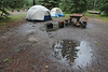 On the days we camped, it rained.  Hard.  Thunder, lightning and hail (oh my!).  Total drag.