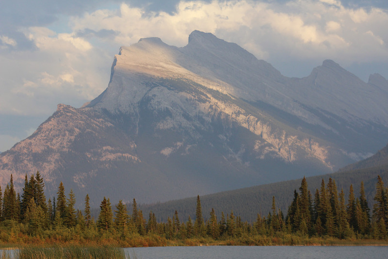 Mount Rundle at twilight.