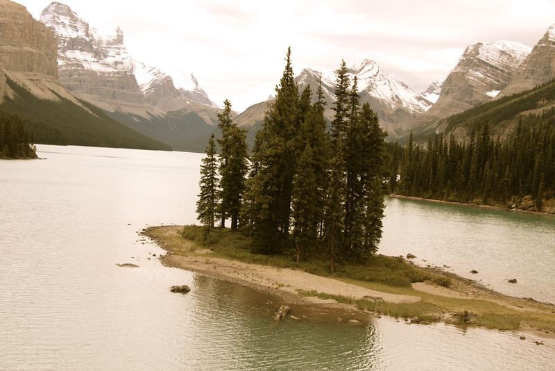 Spirit Island at Maligne Lake.  It used to be pictured on the Canadian $20 bill.  We took a boat ride out to see it, and I'm glad we did.