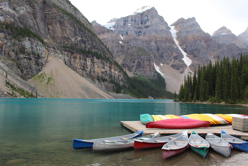 The color of Moraine Lake was breathtaking (accentuated by the canoes that were for rent at the lakeshore).