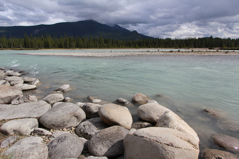 View of the Athabasca River from our cabin in Jasper.