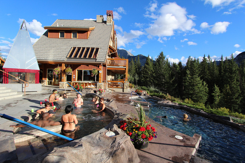 The pool at our hotel--Hidden Ridge Resort--in Banff.  The upper level is a hot tub, the lower level a regular pool.  Yes, I tried both.