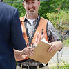 Project Manager Alex Hackman celebrates the successful removal of the Bartlett Pond Dam, on the Wekepeke Brook in Lancaster on Tuesday afternoon. <br /> SENTINEL & ENTERPRISE / Ashley Green