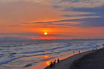 Surf Sunset - from the pier in Huntington Beach, CA