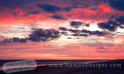 Sunset over Bear Island (Hammocks Beach State Park).
