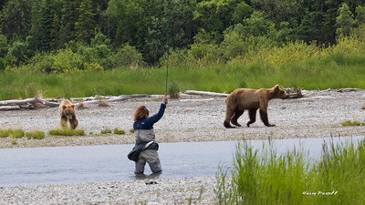 Bears and people share the same fishing spot