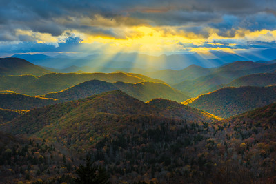 Sunbeams and Smoky Mountains off of the Blue Ridge Parkway