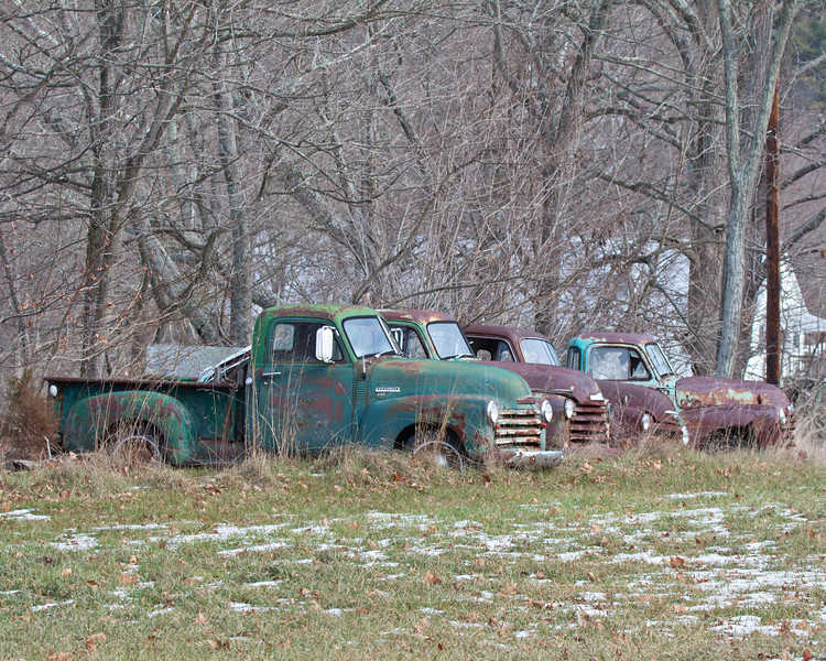 Old Chevy's waiting in the snow
