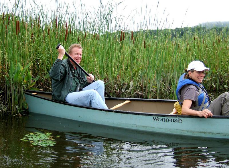 John Askildsen paddling stern  - Bedford Audubon canoe trip to Constitution Marsh, Garrision, NY National Audubon Center